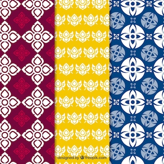 Colorful thai pattern collection with flat design