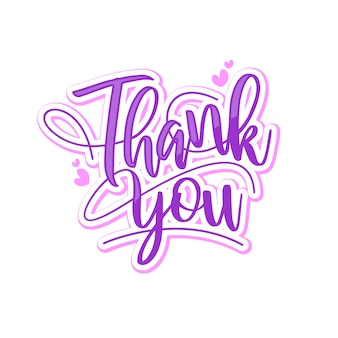 Colorful thank you lettering typography design