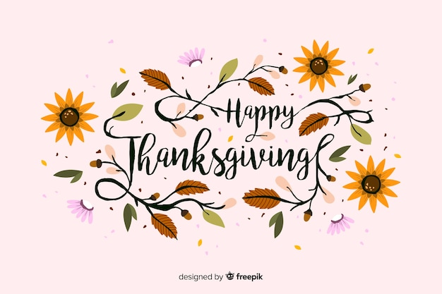Colorful thanksgiving background in flat design