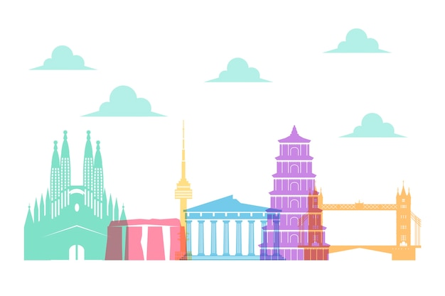 Colorful thematic landmarks skyline style