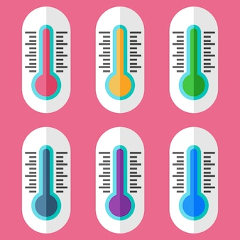 Colorful thermometer element icon game asset