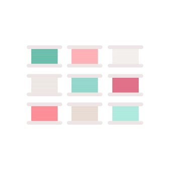 Colorful thread rolls icon illustration