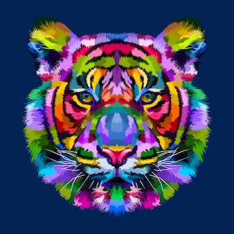 Colorful tiger head isolated on blue background