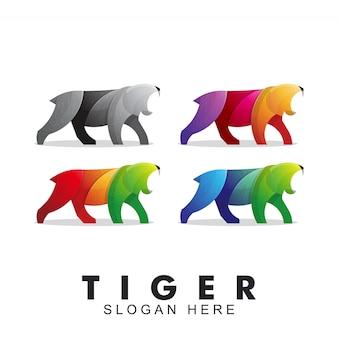 怒っているカラフルな虎のロゴ