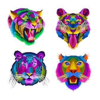 Коллекция портретных плакатов красочных тигров в стиле поп-арт