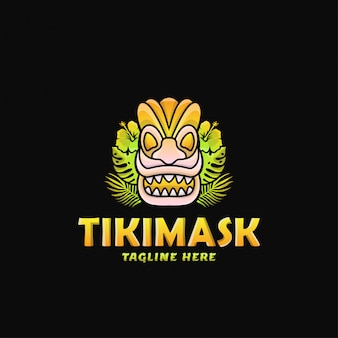 Colorful tiki mask logo design vector illustration