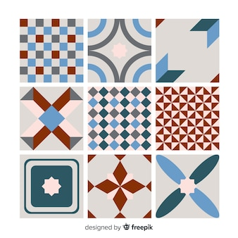 Colorful tile collection with flat design