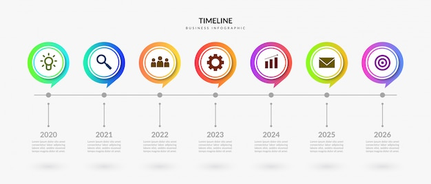Colorful timeline infographic elements, business process graphic with multiple step