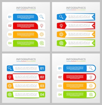 Colorful timeline infographic template with 4 steps on gray background