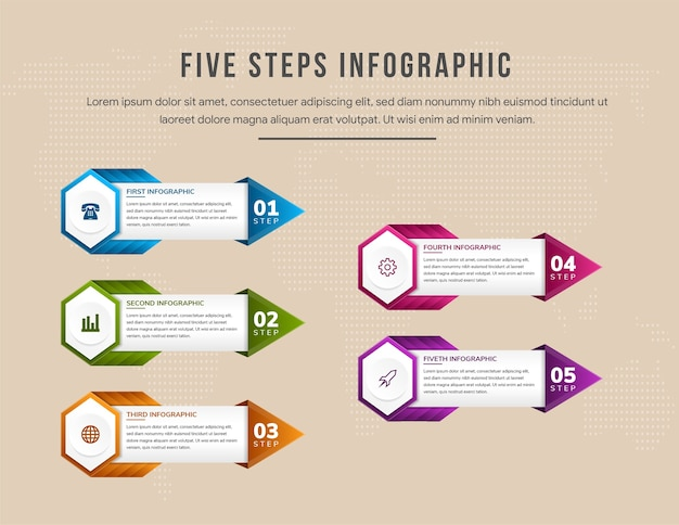 Colorful timeline infographic template with arrows flowchart workflow or process infographics hexagon with five steps