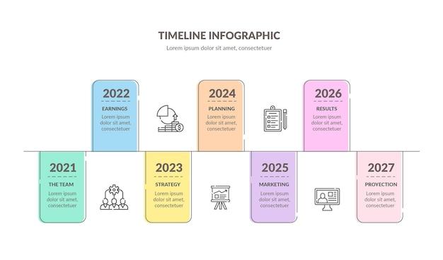 다채로운 타임 라인 infographic 템플릿