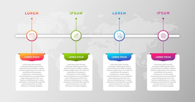 Colorful timeline infographic with services