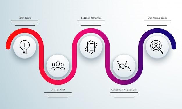 Красочная временная шкала инфографика с 5 шагами.