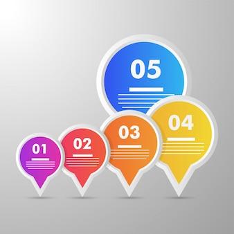 5段階のカラフルなタイムラインインフォグラフィックスレイアウト。