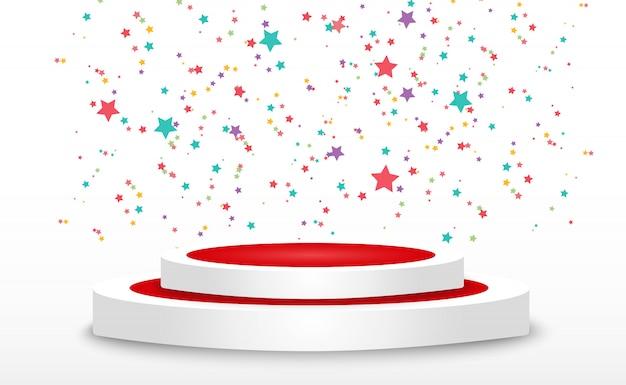 화려한 작은 색종이와 투명 배경에 리본. 축제 이벤트와 파티. 여러 가지 빛깔의 배경. 연단에 고립 된 다채로운 밝은 색종이.