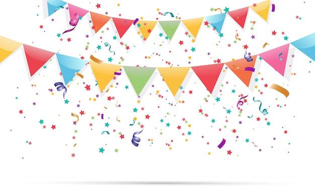 カラフルな小さな紙吹雪と透明な背景にリボン。お祝いイベントとパーティー。多色の背景。透明な背景に分離されたカラフルな明るい紙吹雪