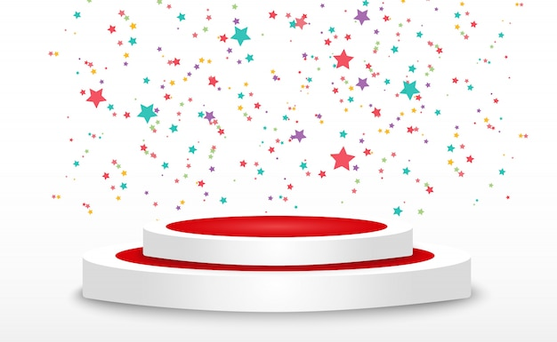 Colorful tiny confetti and ribbons on transparent background. festive event and party. multicolor background. colorful bright confetti isolated on the podium.