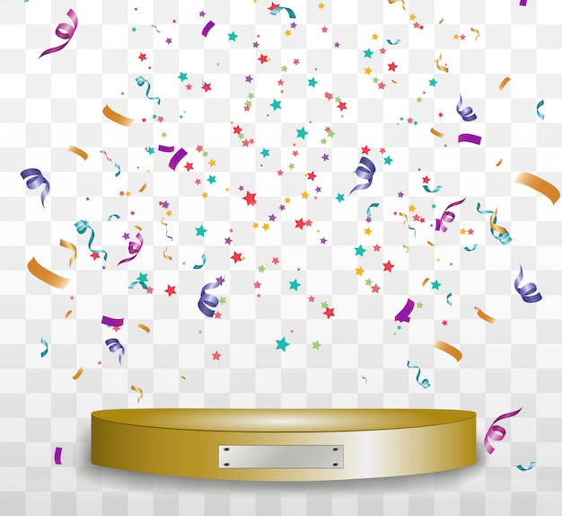 Colorful tiny confetti and ribbons on transparent background. festive event and party.