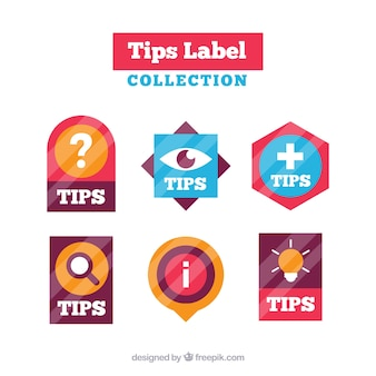 Colorful tips label collection with flat design