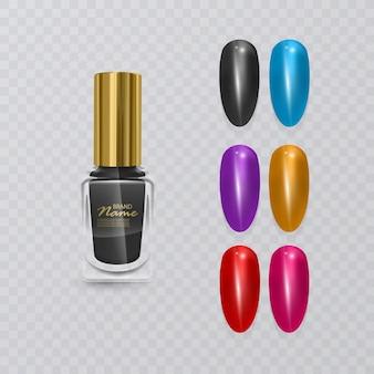 다채로운 팁. 매니큐어에 대한 거짓 손톱 세트. 손톱 확장 및 현실적인 검은 광택, 일러스트레이션을위한 니스 색상 팔레트
