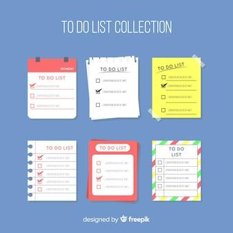 Красочная коллекция списка с плоским дизайном