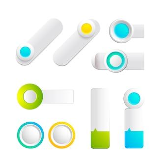 分離されたウェブデザインのためのさまざまな形や色のカラフルなトグルとボタンのコレクション