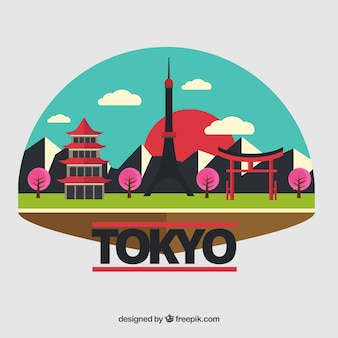 Красочный пейзаж токио
