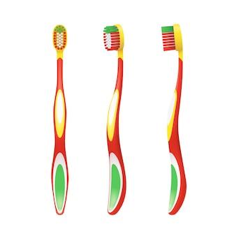 白で隔離されるさまざまな側面からの子供のためのカラフルな歯ブラシ