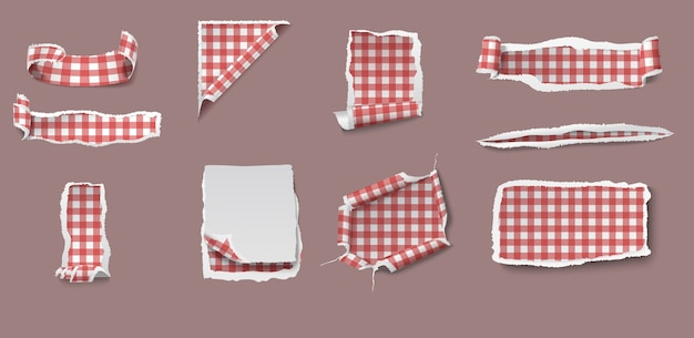 Colorful torn and ragged paper set of different shapes with gingham tablecloth pattern isolated