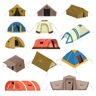 Colorful tourist tents set