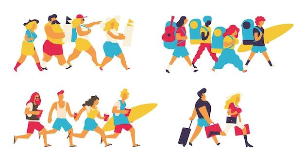Colorful tourists set