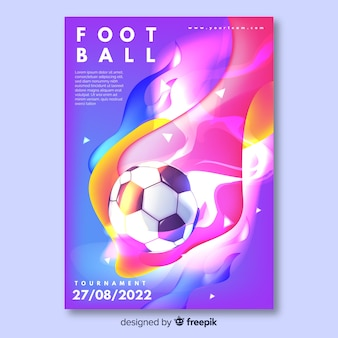 Colorful tournament football poster template