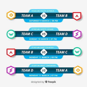Colorful tournament schedule with flat design