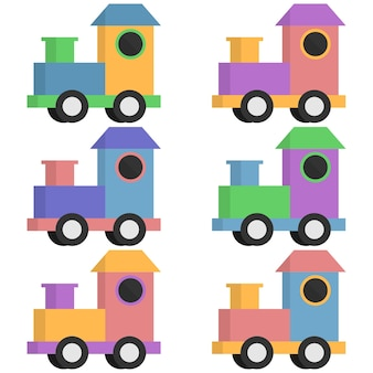 Colorful toy train carts element icon game asset flat illustration