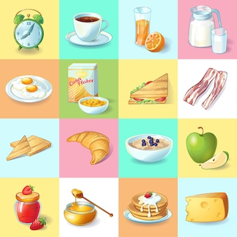 Raccolta tradizionale variopinta degli elementi della prima colazione con i piatti sani della sveglia e le bevande di mattina nei quadrati isolati