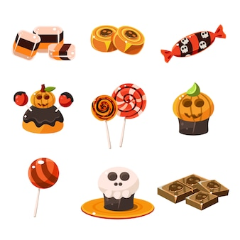 Colorful traditional halloween sweets illustration