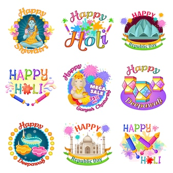 Colorful traditional indian holidays labels set