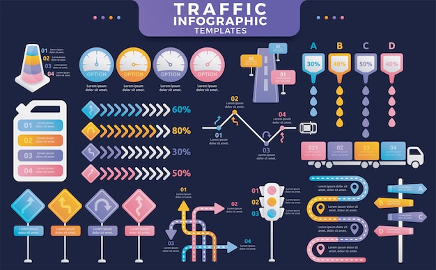 Colorful traffic infographic templates