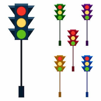 Colorful traffic light element icon game asset