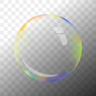 Colorful transparent soap bubble with hotspot