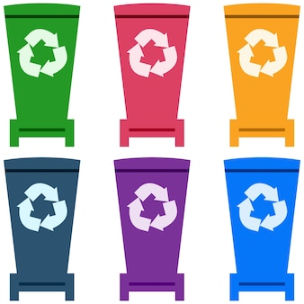 Colorful trash can flat element icon game asset