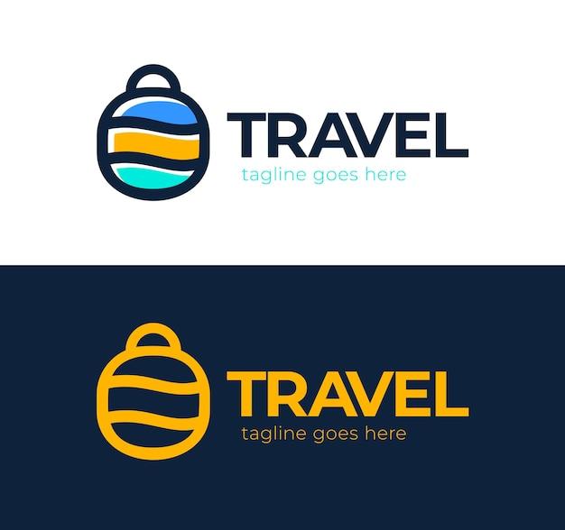 원 모양의 다채로운 여행 가방 케이스 간단한 라인 로고.