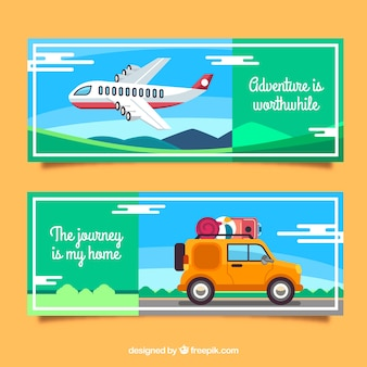 フラットデザインのカラフルな旅行用バナー