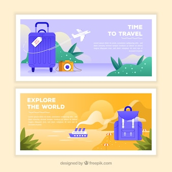 Colorful travel banners with flat design