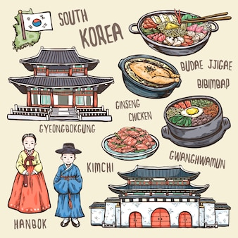 Colorful travel concept of south korea  exquisite hand drawn style