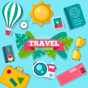 カラフルな旅行要素の背景