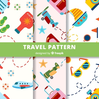 Colorful travel elements pattern