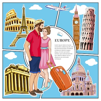 Colorful travel to europe composition with couple in love flying airplane and famous attractions of rome athens london paris vatican cities