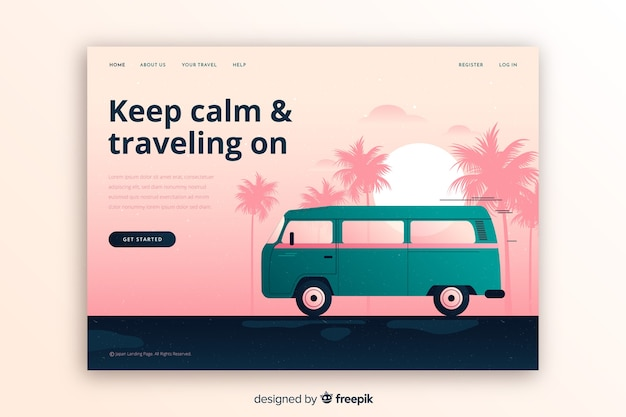 Colorful travel landing page