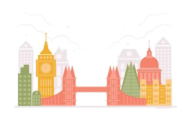 Colorful travel landmarks skyline